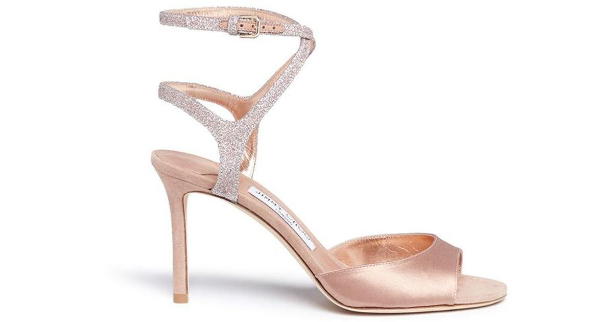 b0914a41f9ca Lyst - Jimmy Choo  helen 85  Glitter Strap Satin And Suede Sandals in Pink