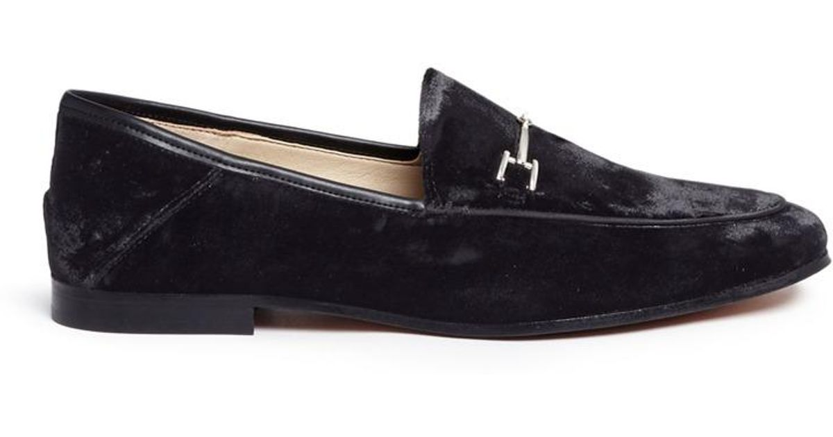 91e02ffca16 Lyst - Sam Edelman  loraine  Horsebit Crushed Velvet Step-in Loafers in  Black