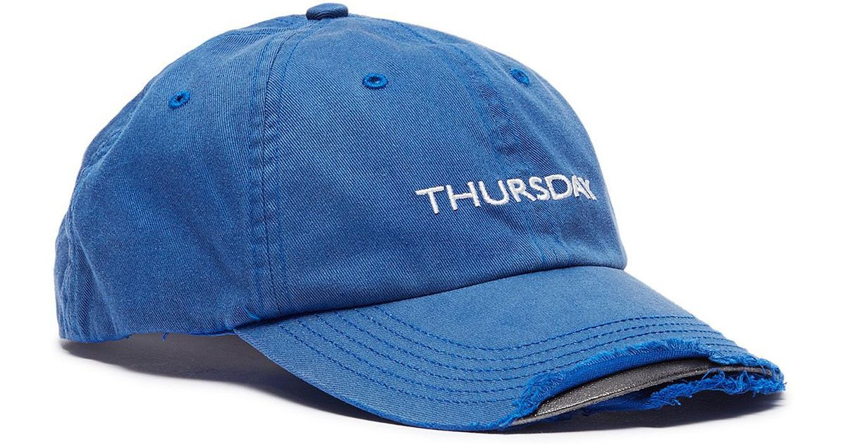 58fccd9658e112 Vetements X Reebok 'weekday' Slogan Embroidered Distressed Baseball Cap in  Blue for Men - Lyst