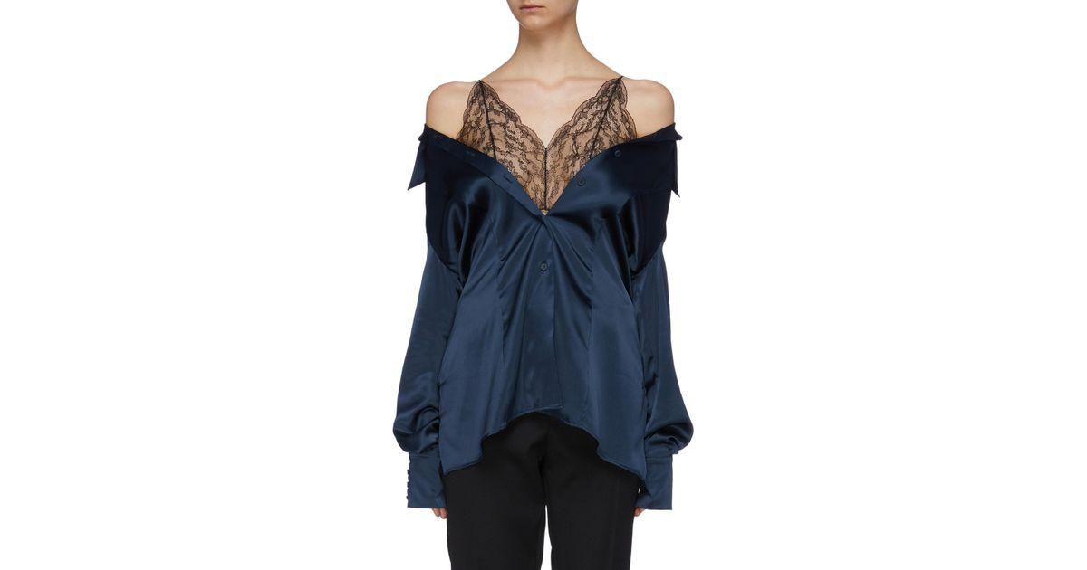 3e353381c29bb Lyst - Maison Margiela Chantilly Lace Camisole Panel Off-shoulder Silk  Satin Shirt in Blue for Men