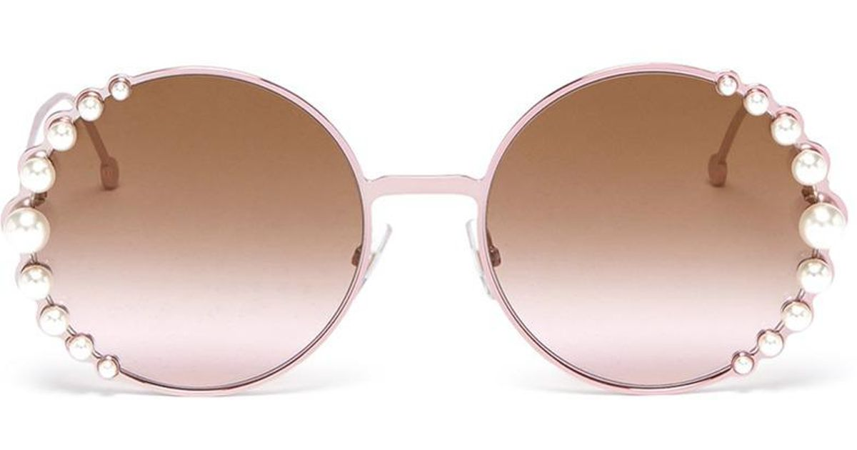 0cca8c19680 Lyst - Fendi  ribbon And Pearls  Embellished Metal Round Sunglasses in Pink
