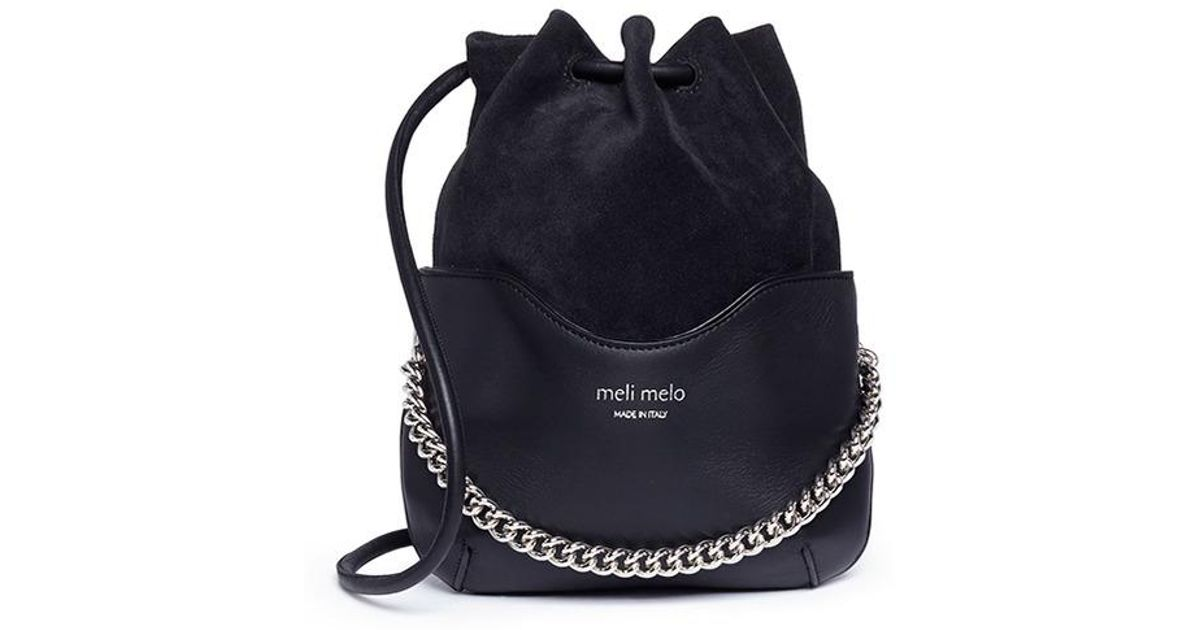 Lyst - meli melo  hetty  Suede Panel Leather Drawstring Crossbody Bag in  Black 9426e9302d9d0