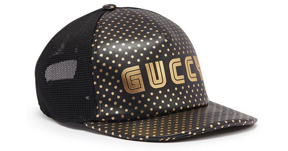 a628b97e Gucci 'guccy' Logo Print Leather Baseball Cap in Black - Lyst