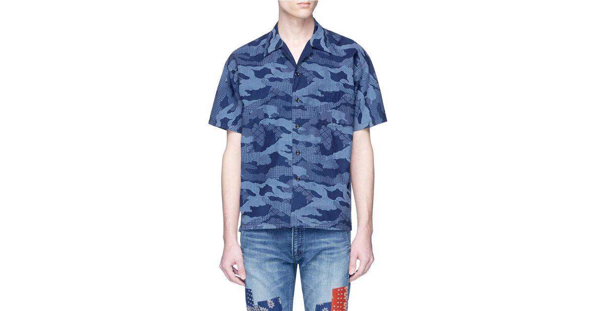 1e371d5d7 FDMTL Sashiko Camouflage Print Short Sleeve Shirt in Blue for Men - Lyst