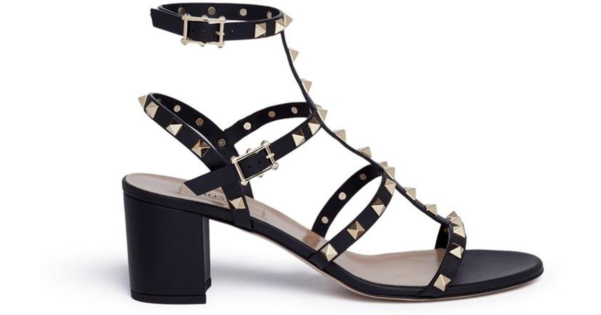 4c900ad03b Valentino 'rockstud' Block Heel Leather Sandals in Black - Lyst