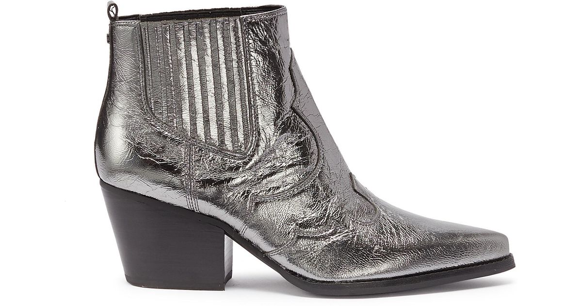 a6bb52f24 Sam Edelman Winona Metallic Textured-leather Ankle Boots in Metallic - Lyst