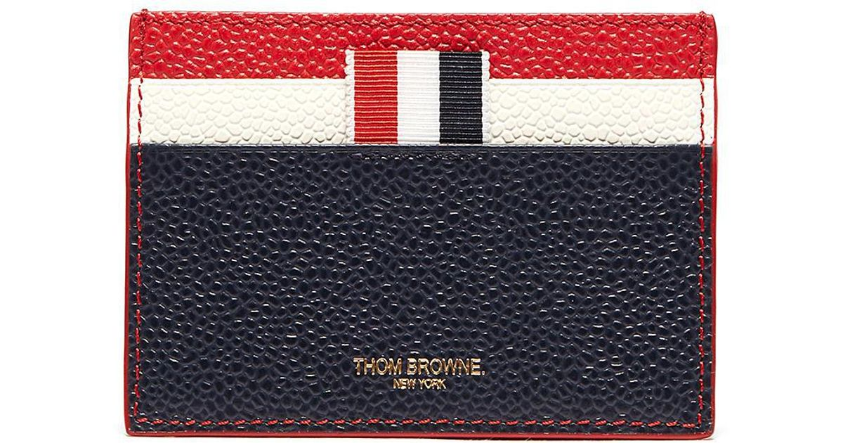 4024f38df7 Thom Browne Colourblock Pebble Grain Leather Card Holder for Men - Lyst