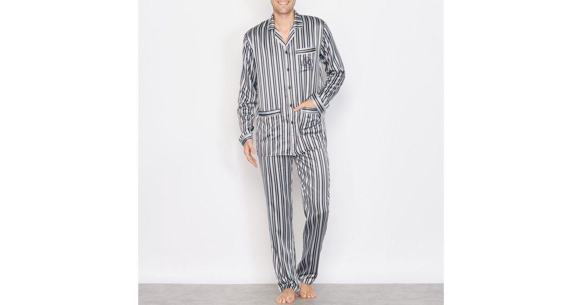 Lyst - La Redoute Pyjama Satin Rayé Manches Longues f4f92caa714