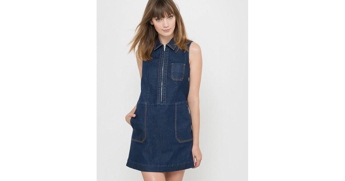 96e6d5cbc8 Lyst - La Redoute Sleeveless Denim Mini Dress in Blue