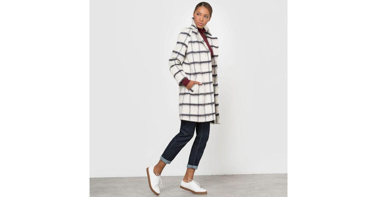 30e6251d383 Lyst - La Redoute Checked Oversize Boyfriend Coat in White