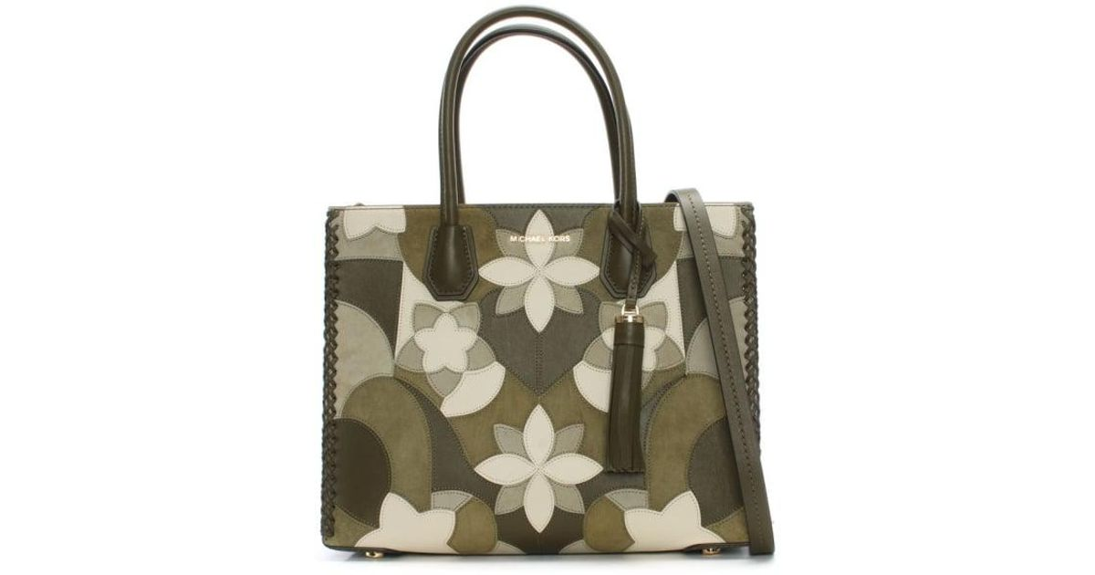 25f3500cedac42 Michael Kors Mercer Olive Floral Patchwork Tote Bag in Green - Lyst