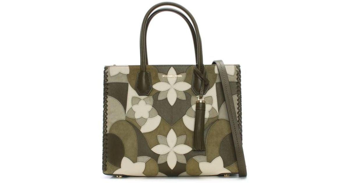 bd0bf24b34fb Michael Kors Mercer Olive Floral Patchwork Tote Bag in Green - Lyst