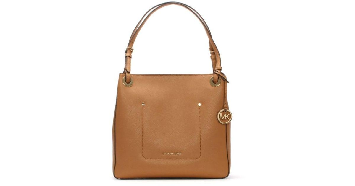 54749df9bafd Michael Kors Walsh Medium Acorn Saffiano Leather Shoulder Tote Bag Col in  Brown - Lyst