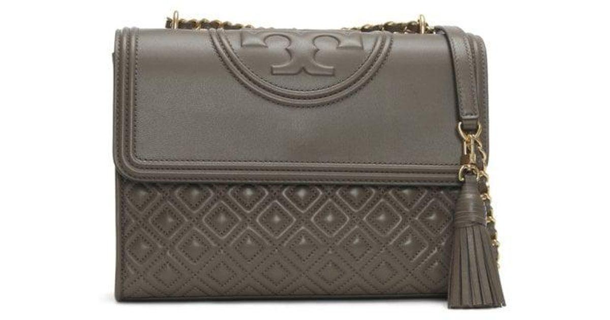 74b3c6a94e36 Lyst - Tory Burch Fleming Convertible Silver Maple Leather Shoulder Bag  Colou