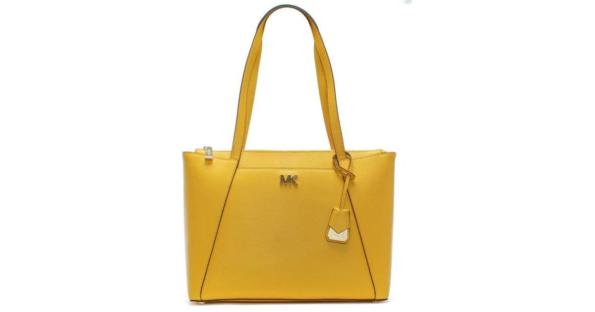 6d881d677bfe Lyst - Michael Kors Maddie Black Sunflower Leather East West Tote Bag in  Yellow