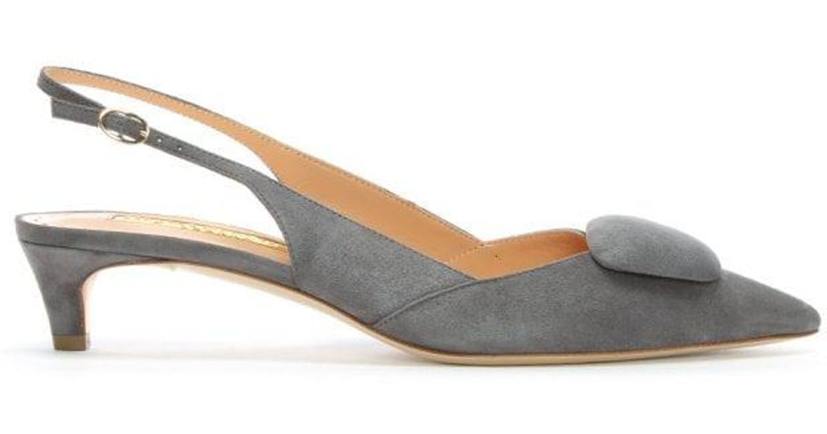 868d644904c Rupert Sanderson - Gray Misty Grey Suede Pointed Toe Sling Back Kitten  Heels - Lyst