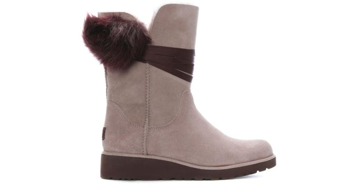 39f22d2e3a1 Ugg - Brown Brita Dusk Twinface Pom Pom Ankle Boots - Lyst