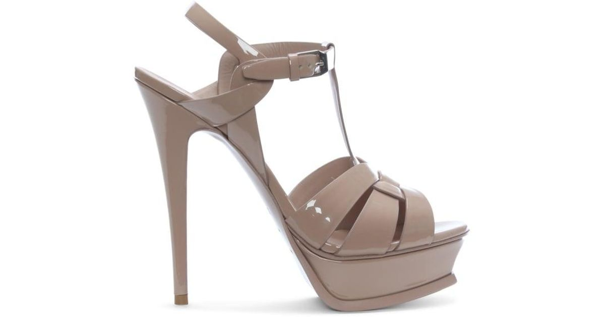 39c4e7be956 Saint Laurent Tribute 105 Nude Patent Leather Platform Sandals in Natural -  Lyst