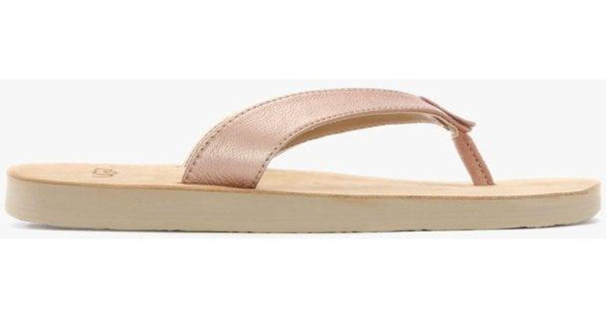 0b3ce797bdd Ugg - Pink Tawney Rose Gold Metallic Toe Post Flip Flops - Lyst
