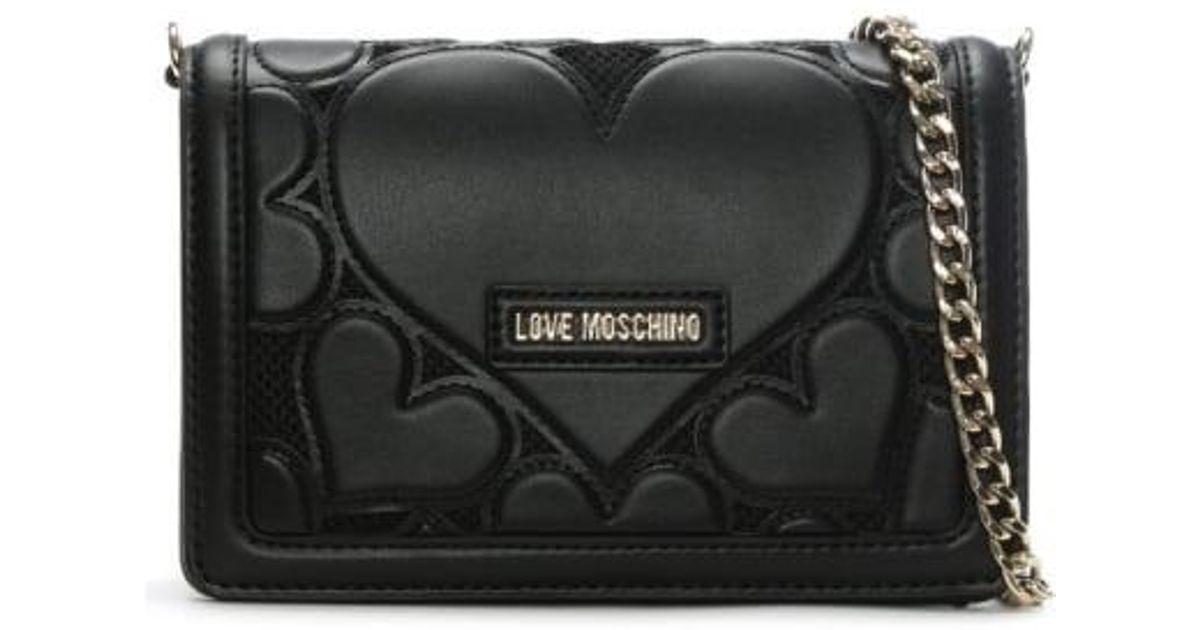 8c951625e2f Love Moschino Phoebe Black Mini Heart Cross-body Bag in Black - Lyst