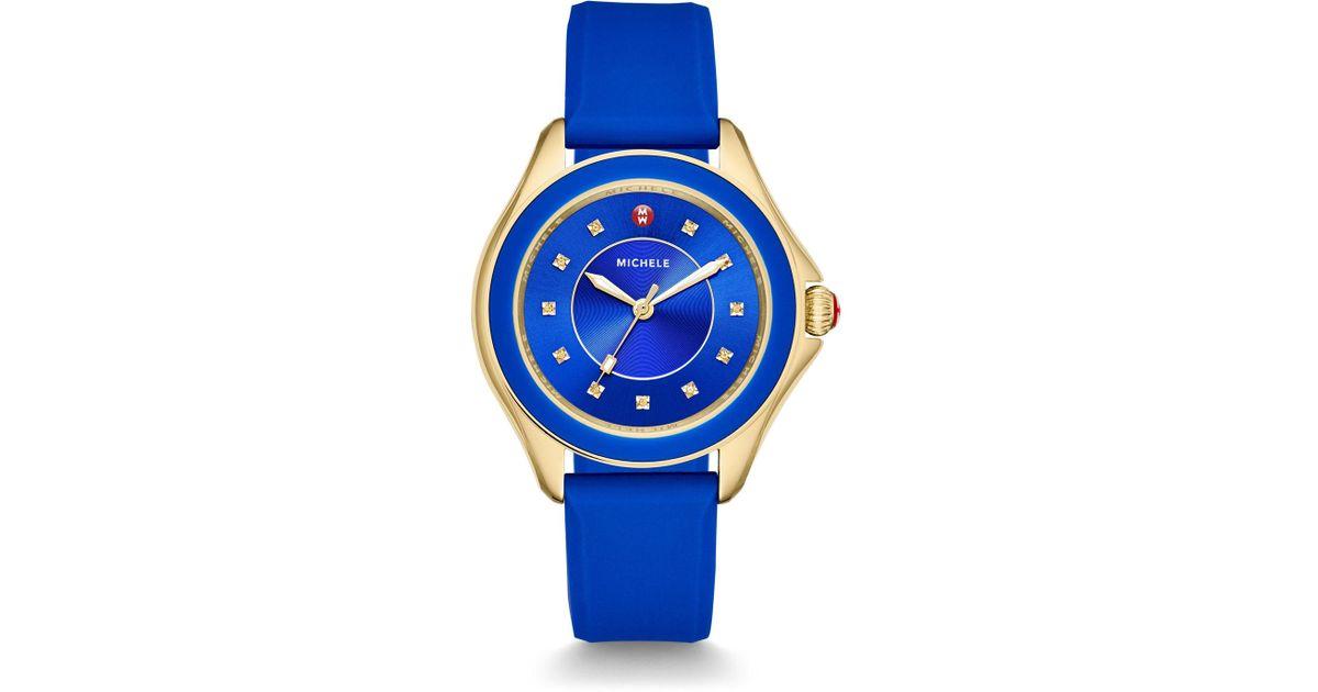 392d5d6b2 Michele Cape Topaz Golden Watch W/silicone Strap Cobalt Blue in Blue - Lyst