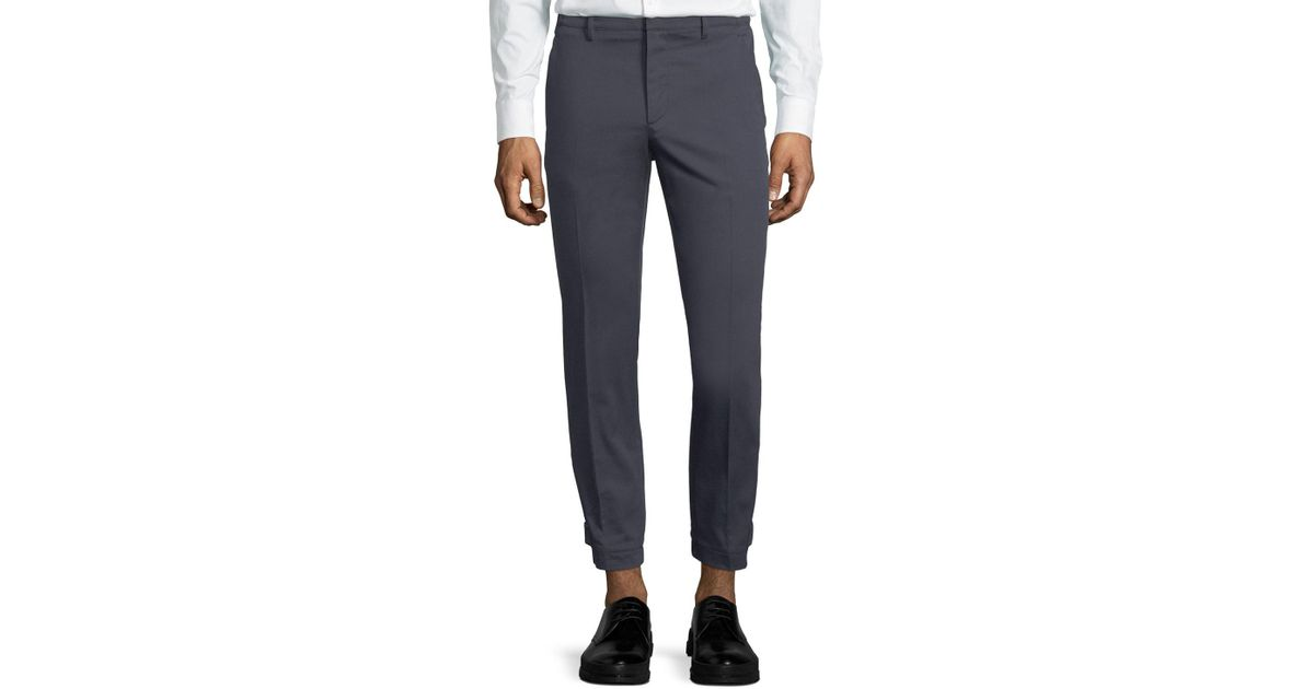 1b0a046752d Prada Ankle-cuff Cotton-blend Tapered-leg Pants in Blue for Men - Lyst