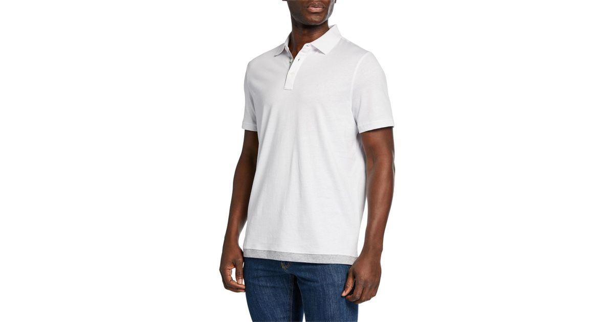 23529b5f0 Lyst - Michael Kors Men s Contrast Hem Cotton Polo Shirt in White for Men