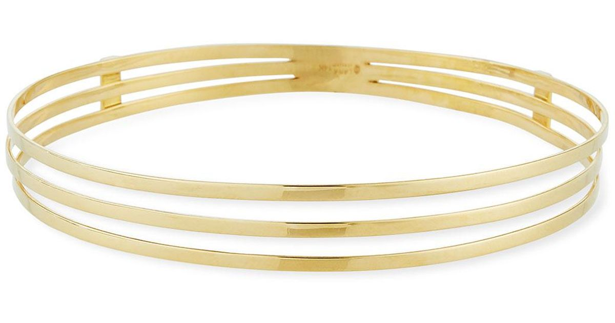Lyst Lana Jewelry 14k Yellow Gold Triple Row Bangle Bracelet In Metallic