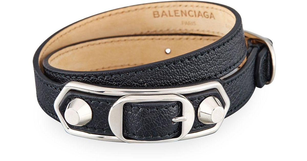 Balenciaga Black Metallic Edge Leather Wrap Bracelet Lyst