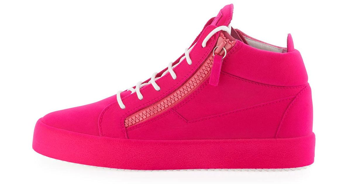 c3c24fbbb5f Lyst - Giuseppe Zanotti Men s Flocked Leather Mid-top Sneakers in Red for  Men