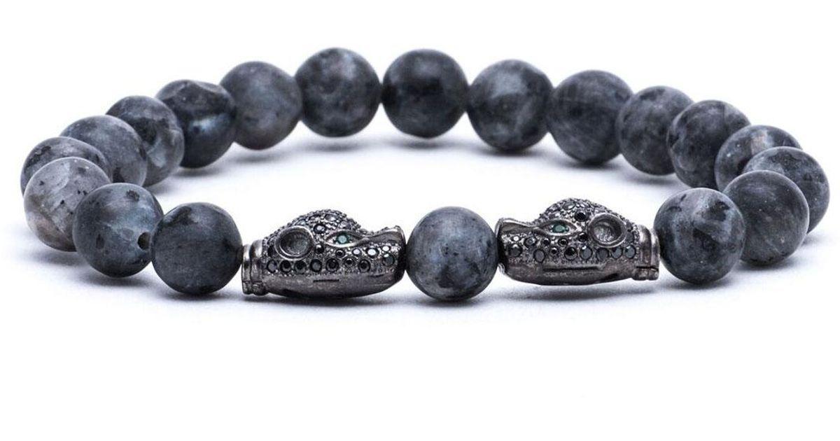 Lyst Jared Lang Mens Twinheaded Beaded Bracelet in Gray for Men