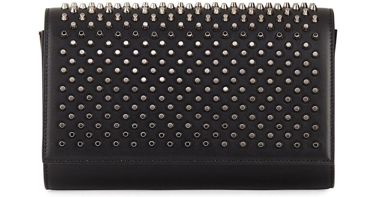 3af65251e719 Lyst - Christian Louboutin Paloma Fold-over Spike Clutch Bag in Black