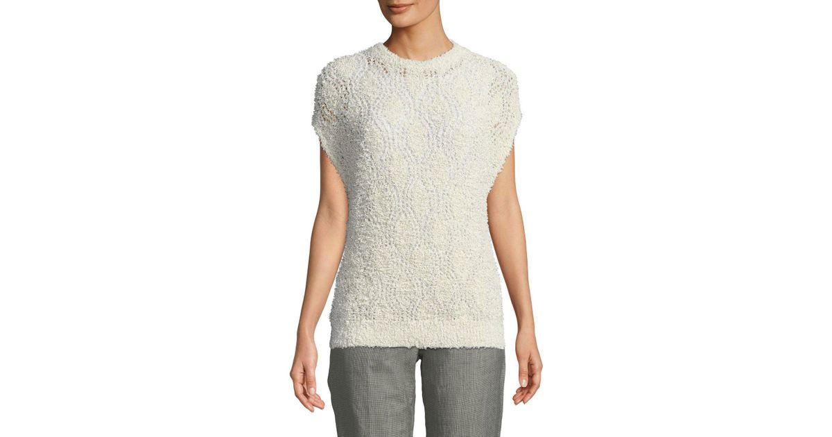 7698187946 Lyst - Brunello Cucinelli Fuzzy Cotton-raffia Lace Short-sleeve Sweater in  White