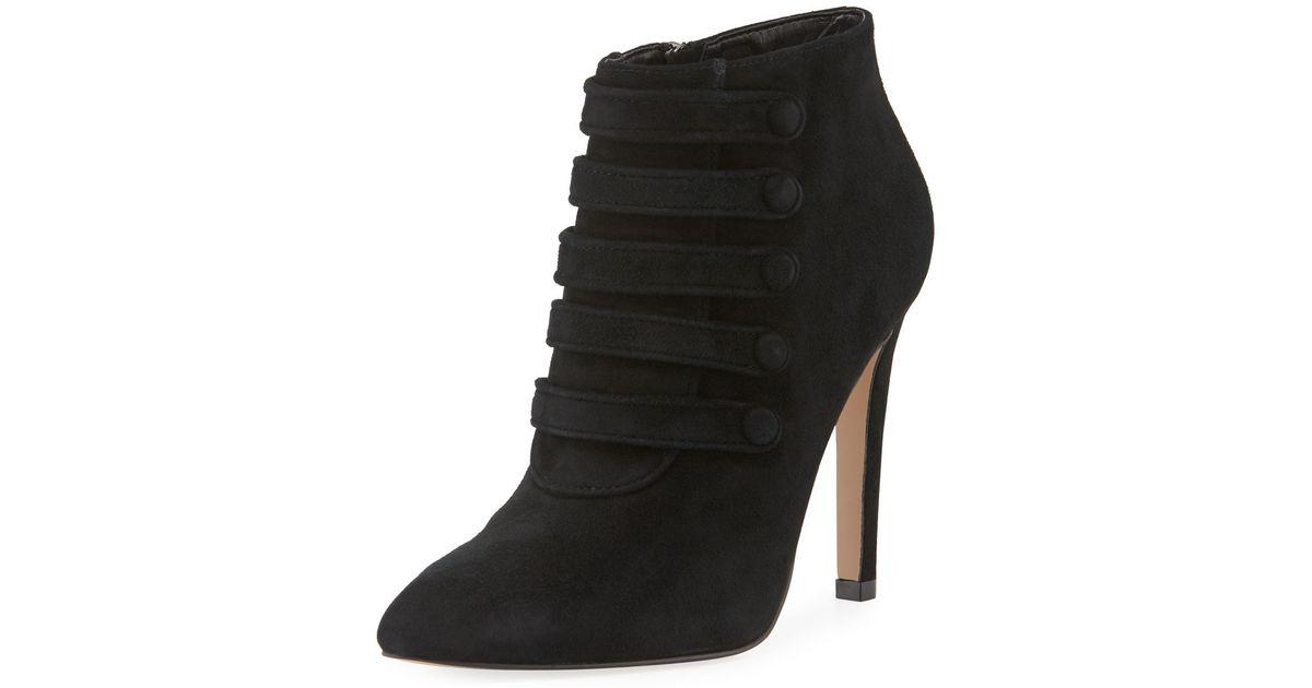 4d336b463f9d Lyst - Neiman Marcus Morris Suede High-heel Booties in Black