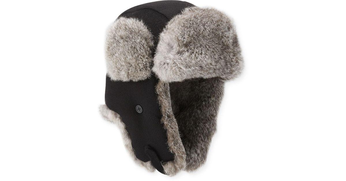 Lyst - Neiman Marcus Men s Fur-trim Camelhair Trapper Hat in Black for Men dfb5136c5714