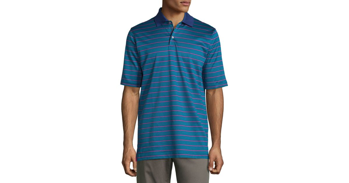 Bobby jones short sleeve striped cotton polo shirt in blue for Mens teal polo shirt
