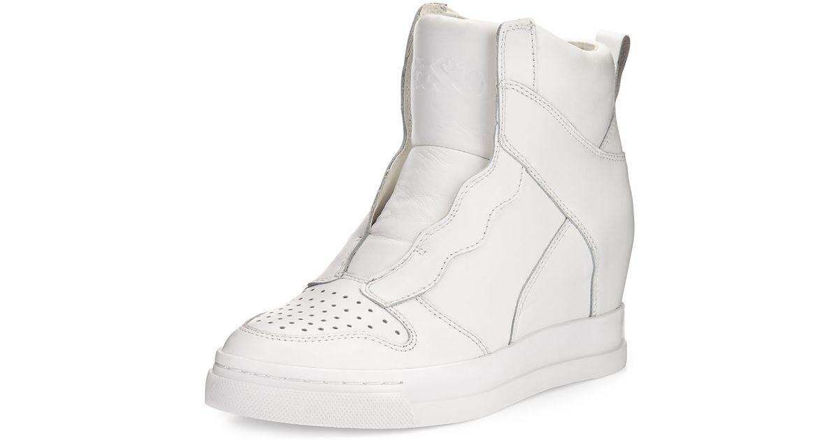 Lyst - Ash Clone Leather Hidden-wedge High-top Sneaker in White 4a375e13a
