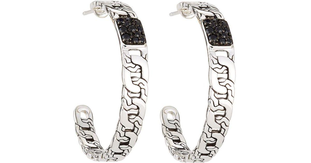 John Hardy Batu Classic Chain Black Sapphire Large Hoop Earrings TySTLImqHG