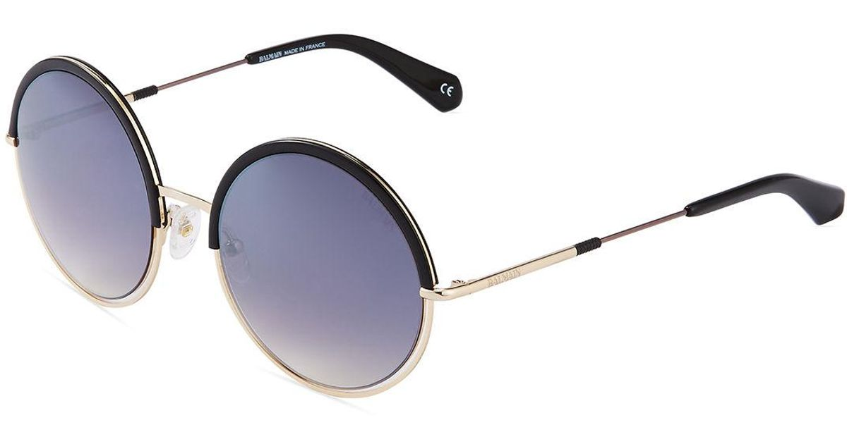 7617d3a8cf Balmain Two-tone Round Sunglasses in Black - Lyst