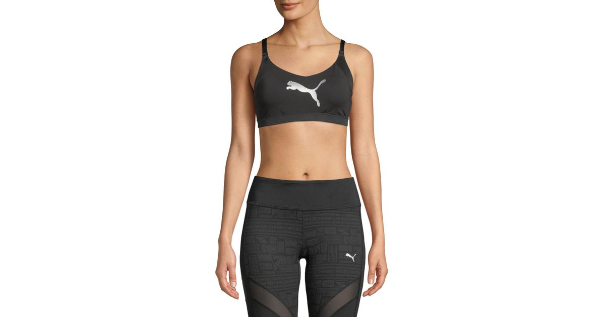 ccc7b26497 Lyst - Puma En Pointe Logo Sports Bra in Black