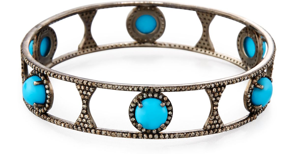 Bavna Turquoise & Diamond Bangle Bracelet eXJdi5feU
