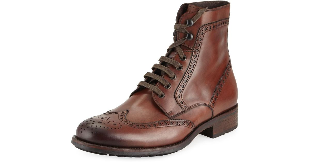 3e042519 Neiman Marcus - Brown Hand Antiqued Wing-tip Leather Boot for Men - Lyst