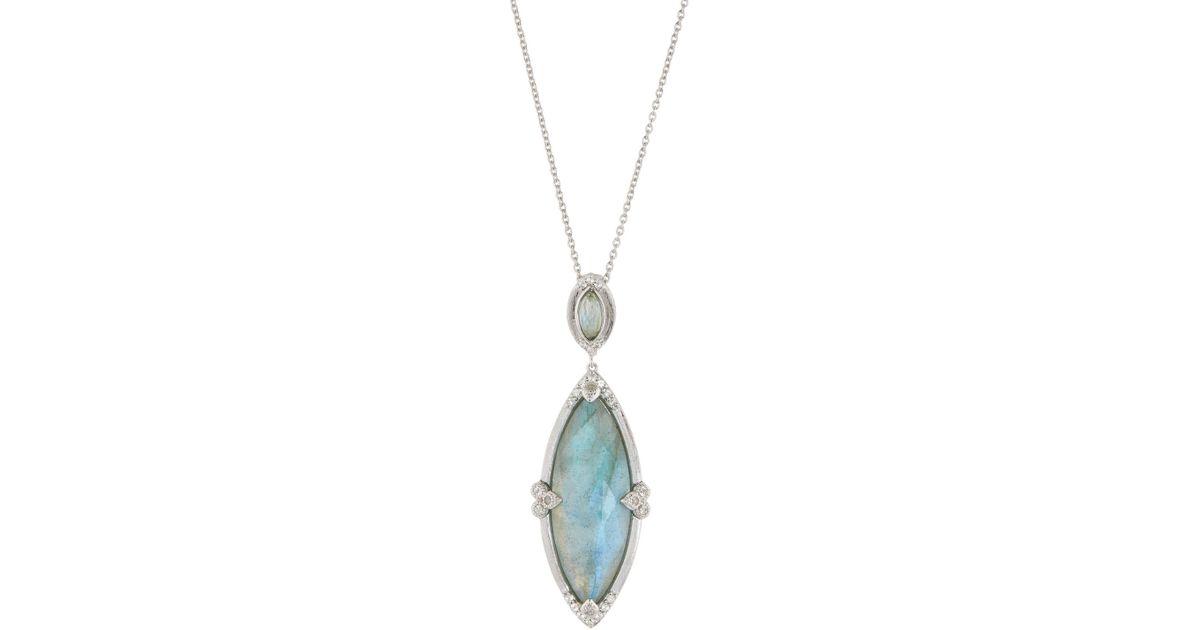 Jude Frances 18K Moroccan Diamond-Tip Pendant Necklace, Labradorite/Quartz Doublet