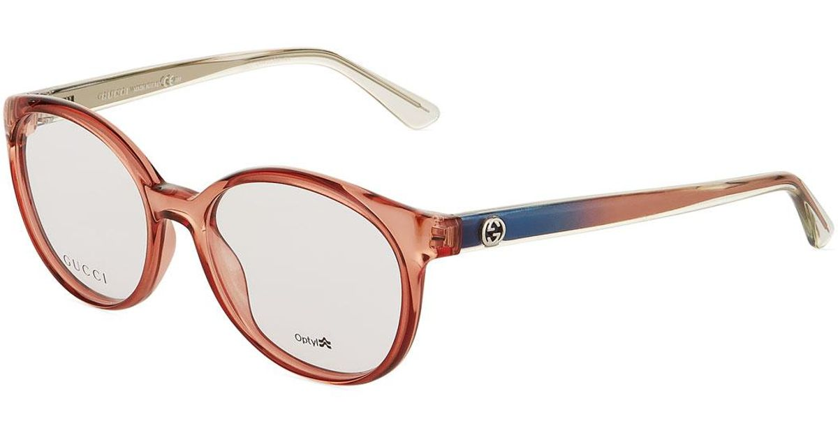 026f2347bd Lyst - Gucci Round Optyl® Acetate Optical Glasses in Pink