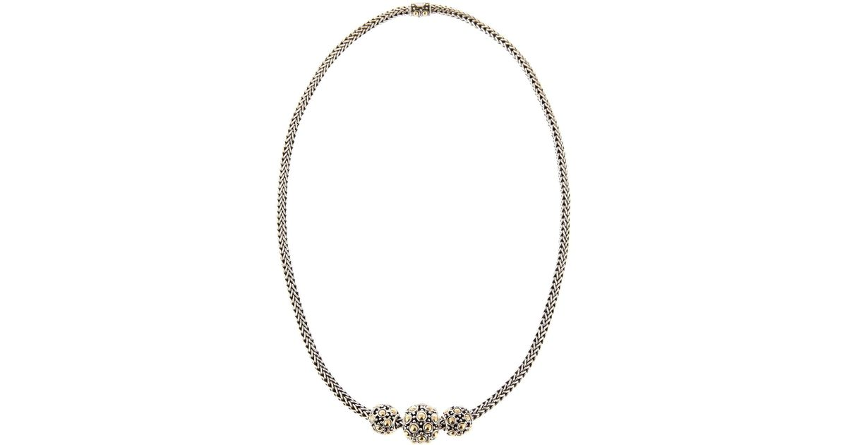cc95061d843ea6 John Hardy Jaisalmer Gold-silver Three-bead Necklace in Metallic - Lyst