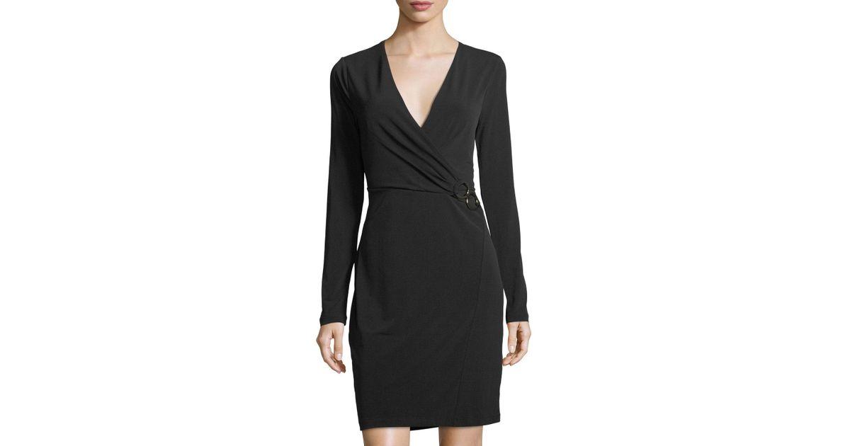 fde476a088814 Lyst - T Tahari Faux-wrap Knit Dress in Black
