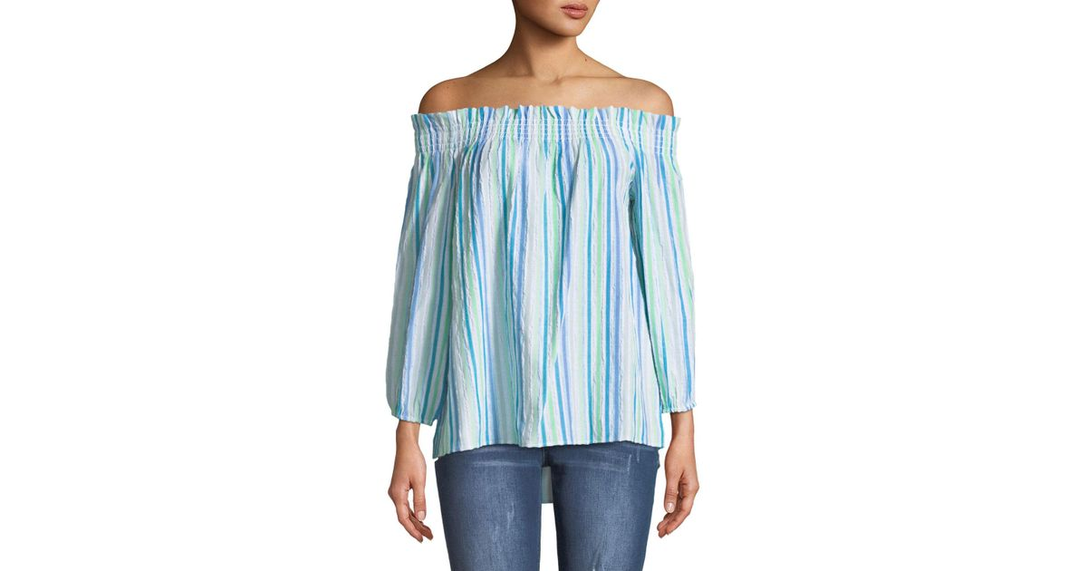 7bd63d99aa4e49 Lyst - Cece by Cynthia Steffe Off-the-shoulder Ruched Striped Blouse in Blue
