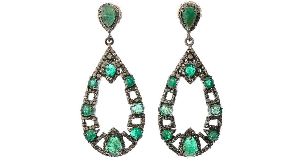 Lyst Bavna Silver Open Teardrop Earrings With Green Emerald Diamonds In Metallic