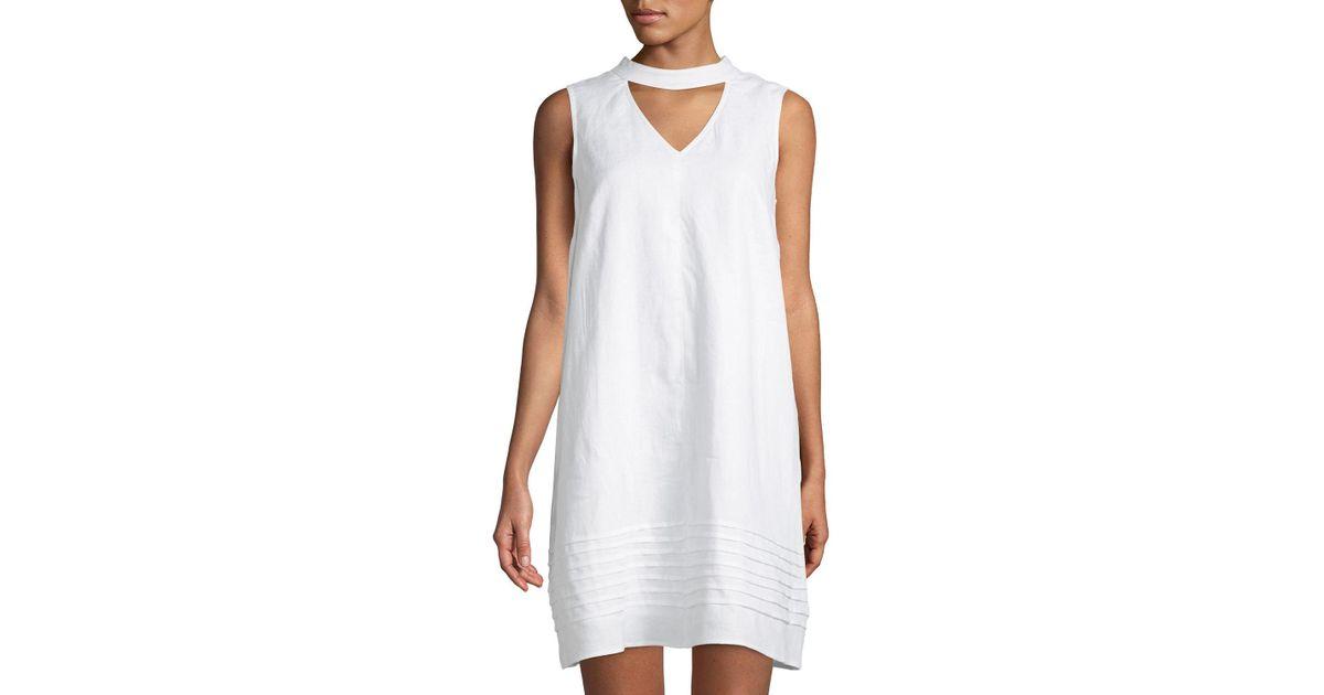 1650e274ca Lyst - Neiman Marcus Choker-neck Linen Shift Dress in White - Save 57%