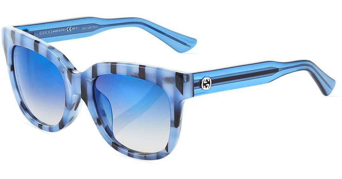 e5c42e5befa Lyst - Gucci Square Acetate Striped Sunglasses in Black